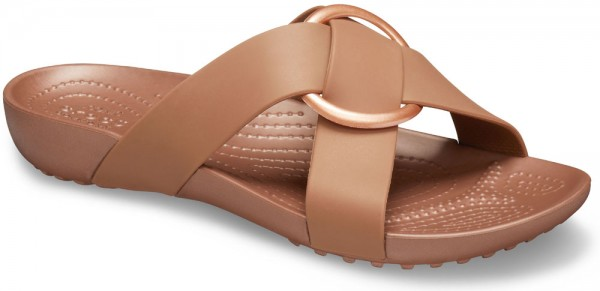 Serena Cross Band Slide Women Bronze Croslite