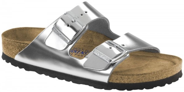 Arizona Metallic Silver Soft Footbed smooth leather