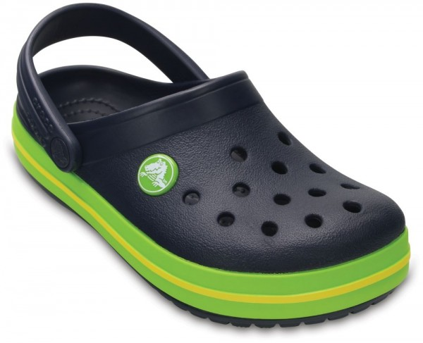 Crocs Crocband Kids Clogs Navy//Volt Green