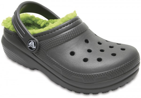 Classic Lined Clog Kids Slate Grey / Volt Green Croslite