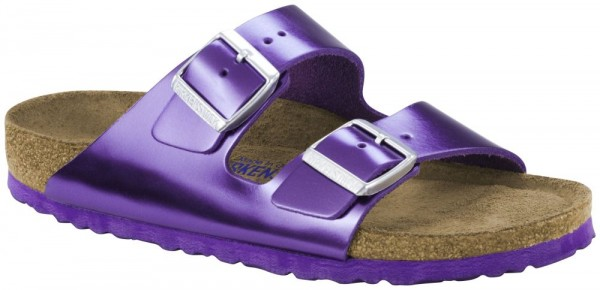 Arizona Metallic Purple Soft Footbed smooth leather