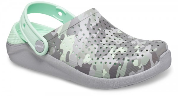 LiteRide Printed Camo Clog Kids Light Grey/Neo Mint Croslite
