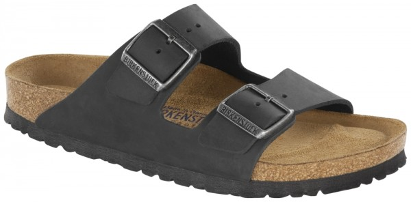 Arizona Black Soft Footbed nubuck leather greased