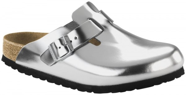 Boston Metallic Silver Soft Footbed smooth leather