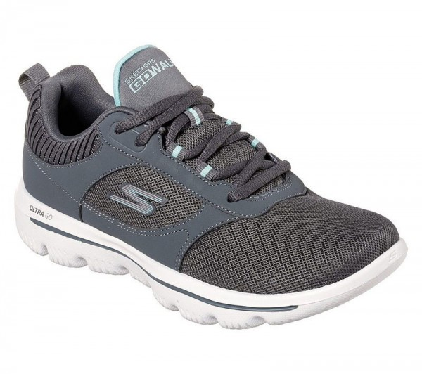 Go Walk Evolution Ultra Enhance - Charcoal / Light blue Textile