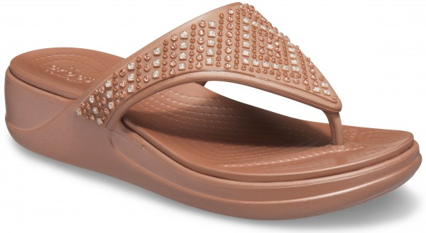 Monterey Shimmer Wedge Flip Women Bronze Croslite