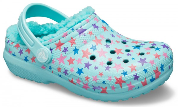 Classic Printed Lined Clog Kids Ice Blue Croslite