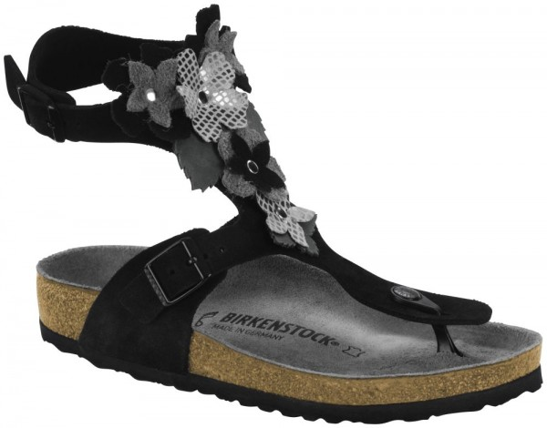 Gizeh High Flower Black suede leather