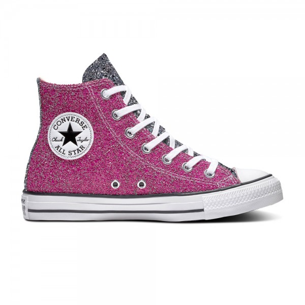 Chuck Taylor All Star Glitter Hi Pink / Silver / White Synthetics
