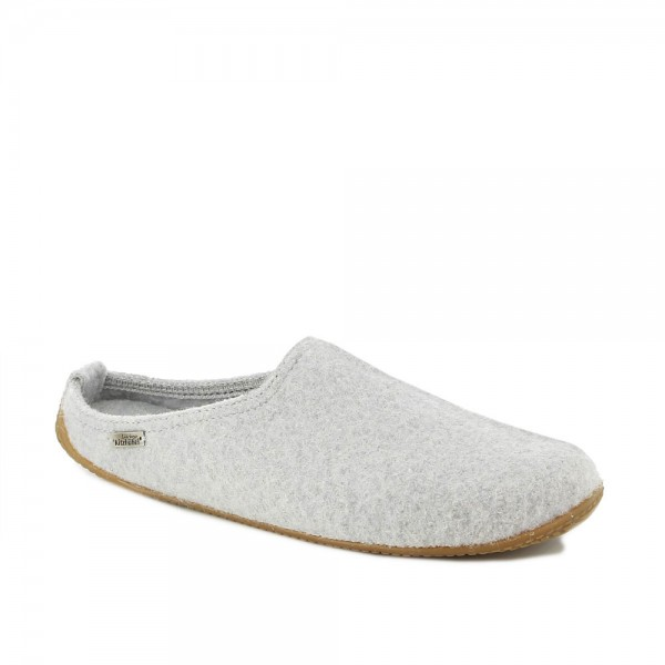 Pantoffel With Fußbett Light grey Wool