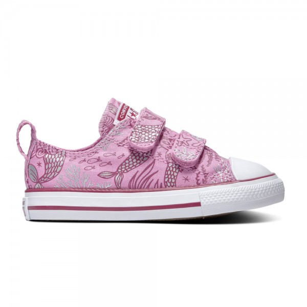 Chuck Taylor All Star 2v Kids - Ox - Peony Pink / Rose Maroon / White Canvas
