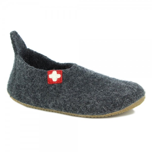 Slipper Schweizer Kreuz Anthracite Wool