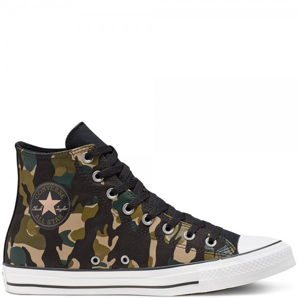 Chuck Taylor All Star Wordmark And Camo Hi Black / Desert Khaki / White Canvas