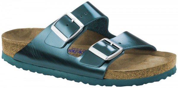 Arizona Metallic Green Soft Footbed smooth leather