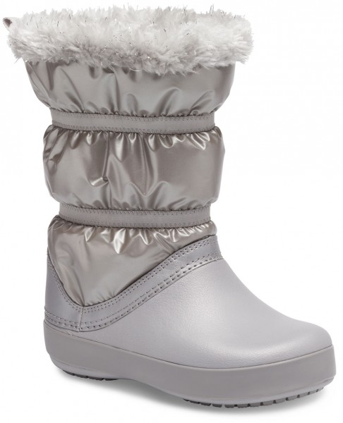 Crocband Lodgepoint Metallic Boot Kids Silver Metallic Croslite