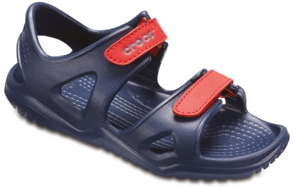 9425de8bf372 Swiftwater River Sandal Kids Navy   Flame Croslite