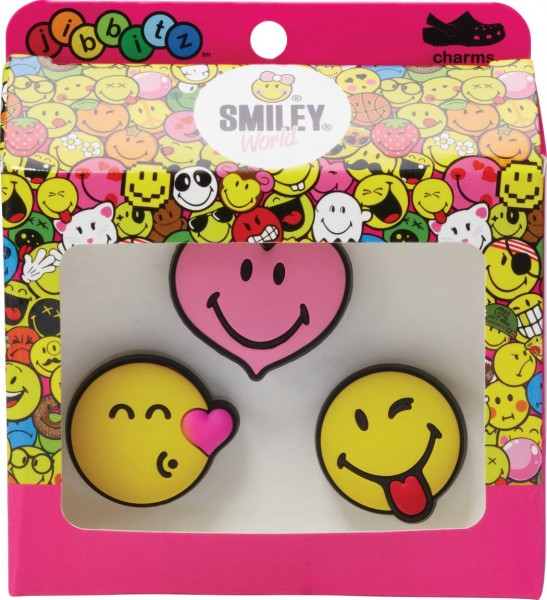 358096ce6 Crocs Jibbitz Smiley Brand Love 3-Pack Rubber