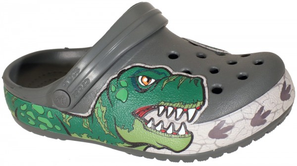 FunLab Dino Band Lights Clog Kids Slate Grey Croslite