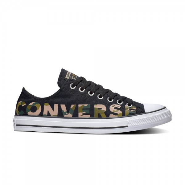 Chuck Taylor All Star Wordmark And Camo Ox Black / Multi / White Canvas