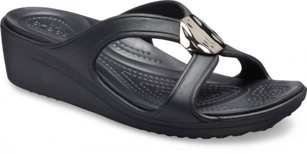 Sanrah Liquid Metallic Wedge Gunmetal / Black Croslite