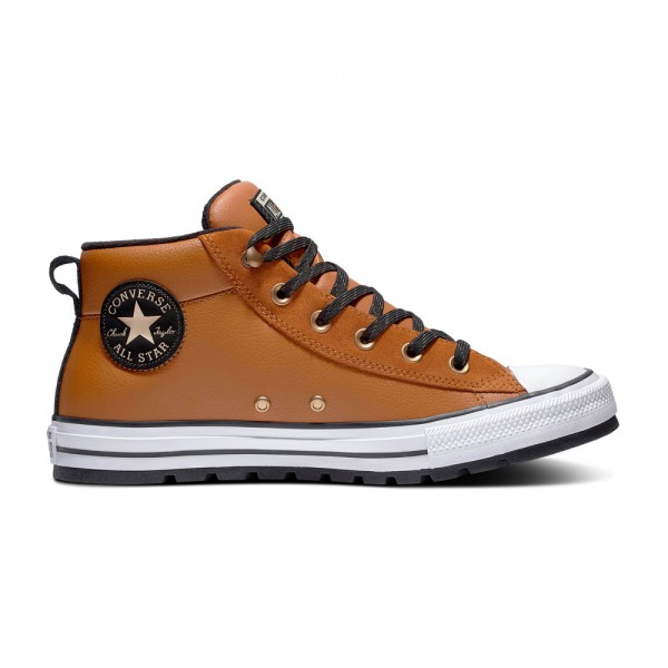 Chuck Taylor All Star Street Leather Mid - Warm Tan / White / Black Leather