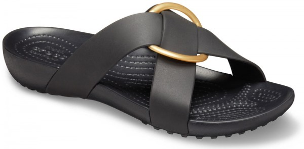 Serena Cross Band Slide Women Black Croslite