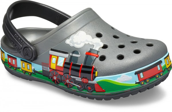 Funlab Train Band Clog Kids Slate Grey Croslite