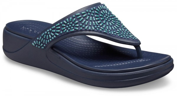 Monterey Diamante Wedge Flip Women Navy Croslite