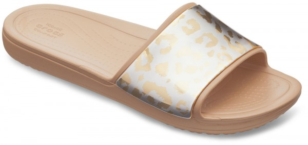Sloane Graphic Metallic Slide Women Gold / Gold Croslite