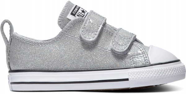 CHUCK TAYLOR ALL STAR 2V COATED GLITTER KIDS - WOLF GREY/BLACK/WHITE Canvas