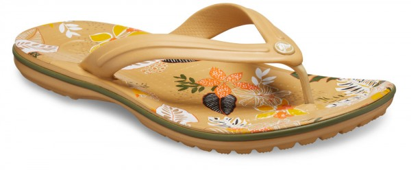Crocband Botanical Print Flip Tan / White Croslite