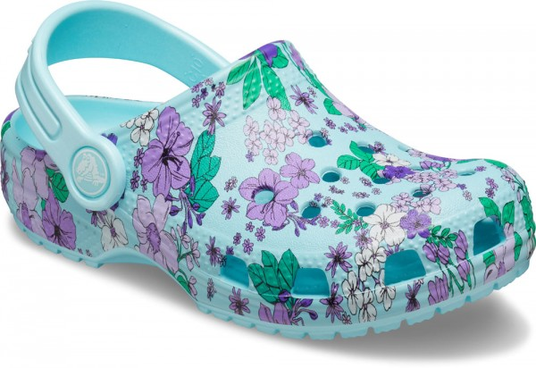 Classic Floral Clog Kids Ice Blue Croslite