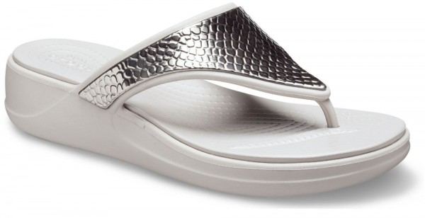 Monterey Metallic Wedge Flip Women Silver / Platinum Croslite