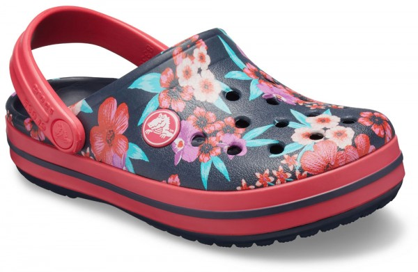 Crocband Flower Print Clog Kids Navy / Poppy Croslite