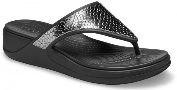 Monterey Metallic Wedge Flip Women Dark Charcoal / Black Croslite