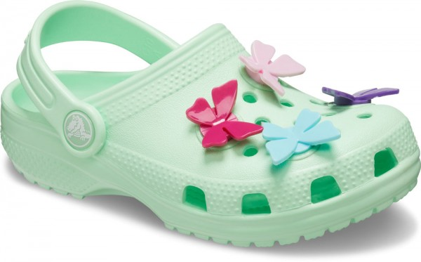 Classic Butterfly Charm Clog Kids Neo Mint Croslite